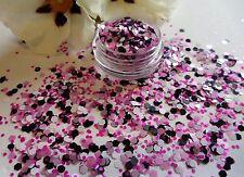 Nail Art Chunky *Candy* Pink White Black Hexagon Glitter Spangle Mix Pot ArtTips