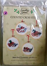 Something Special Counted Cross Stitch Kit Waterfowl Ornaments W/ Hoop Frames !