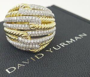 1.89 ct David Yurman Labyrinth Four Row Loop 18K Gold Diamond Ring X-Large Sz 8