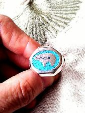 1980's Vintage Large Stainless Steel Size 9 Men's Bear Inlay Ring