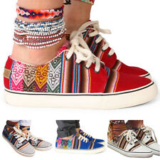 Womens Flats Boho Ethnic Lace Up Canvas Trainers Casual Travel Shoes Plimsole