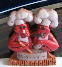 Rare Vintage Fridge Magnet Retro Wood Humorous Bayou Brew Cajun Cooking Hats