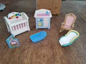 Fisher Price Loving Family Dolls House Baby Car Seat Change Table Musical Crib