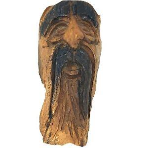 FOLK ART CARVED WOODEN BURL OLD MAN TREE SPIRIT FACE EXCELLENT WALL HANGING A+