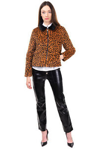 Faux Fur Jacket Size S Fully Lined Leopard Pattern Two Tone Full Zip Collared