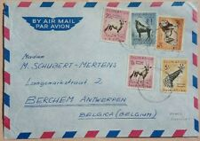 SOUTH AFRICA C. 1961 AIRMAIL COVER WITH MIXED CURRENCY STAMPS INCLUDING 1 RAND