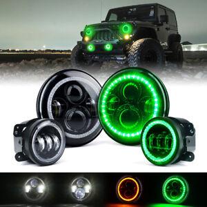 "7"" 90W LED Headlights & Fog Lights w/ Green Halo Ring for 07-18 Jeep Wrangler JK"