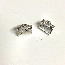 20 x 8mm silver Metal Ribbon Clamps End Crimps With Loop Jewellery Findings