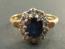 SUPERB 18ct GOLD SAPPHIRE AND DIAMOND RING, UK P, US 7.75