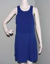 NWOT Womens American Eagle Outfitters Blue Polka Dot Skater Dress Sz L Large