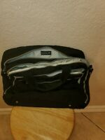 KIPLING Laptop Messenger Carry On Tote 2-Compartment Travel Bag Black Satin