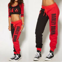 Women Tracksuit Harley Quinn Joggers Trousers Bottoms Jogging Gym Pants Lounge