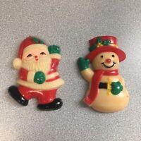 Vintage Santa Snowman Magnets Crafts Christmas