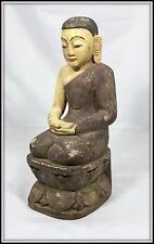 "Awesome! ""Hand Carved Wooden Seated Monk from Thailand"" Serene (14.5"" H x 5"" W)"