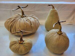 Set of 4 Primitive Autumn Pumpkins Pumpkin Burlap Natural Color Medium to Small