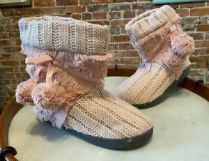 MUK LUKS Light Pink Michelle Cable Knit Slipper Boot Faux Fur Lining Bootie New