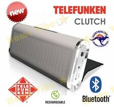 NEW TELEFUNKEN 'CLUTCH' PORTABLE RECHARGEABLE BLUETOOTH SPEAKER SILVER ~ RRP$109