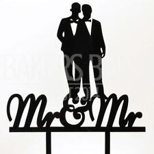Mr & Mr Groom Married Couple Black Acrylic Wedding Day Cake Topper Silhouette