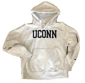 Vintage Champion Reverse Weave Gray Hoodie Sweatshirt UCONN Mens Medium