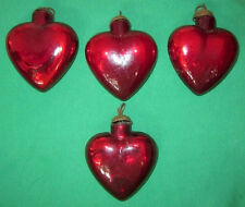 4 Red Glass Kugel Heart Christmas Tree Ornament