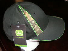 (One Size) NWT John Deere Camo Structured Hat BLACK Strapback Adjustable Hat Cap