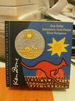 2009 $1 KANGAROO KEN DONE SELECTIVELY GOLD PLATED 1oz 99.9% SILVER COIN. SUPERB!