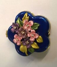 Vintage Blue Enamel with Flowers with  Diamonique Center Box Pill Trinket Box
