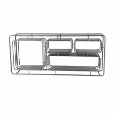 Industrial Style Metal Wall Shelf with 4 Spacious Cubbies, Silver