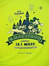2016 Disneyland 1/2 Marathon Lime Green T-Shirt Mickey Mouse Pluto XLarge NEW