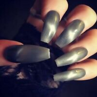Hand Painted Gel Coffin Extra Long False Nails Grey & White