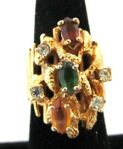 Large Brutualist Rhinestone Ring Red Green Yellow Size 7