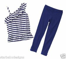 Size 6 Gymboree,HOP 'N' ROLL Outfit,Striped Blue & White Ruffle Top,Leggings,NWT