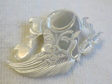RARE CARVED MOTHER OF PEARL SHELL * SHOULAO * CHINESE FIGURAL GOD PIN BROOCH
