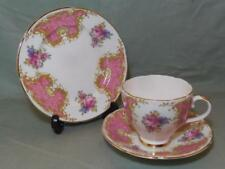 Vintage Imperial Bone China Trio Tea Cup Saucer & Side Plate Pink Floral
