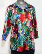 Coldwater Creek size PL Pink Teal Green Blue 3/4 Sleeve Over Blouse