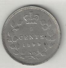 CANADA,  1899,   5 CENTS,  SILVER,  KM#2,  VERY FINE+ ( See Notes )