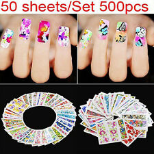 50 sheets Flower Nail Wraps Polish Stickers Patch Foils Art Decals Adhesive #1