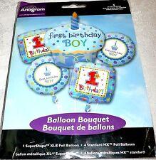 Anagram Cupcake FIRST BIRTHDAY BOY Blue Foil Balloon Bouquet