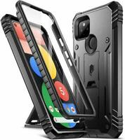 Poetic For Google Pixel 5 Kickstand Case,Dual Layer Shockproof Cover Black