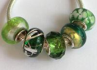 5 x Beads Sterlingsilber und Glasperle *** AUS ECHTEM SILBER und Glas, grün
