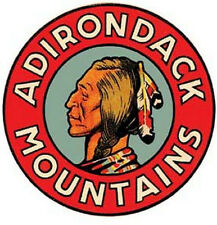 Adirondack Mountains  1950's Vintage Looking Travel Sticker Decal  NY New York