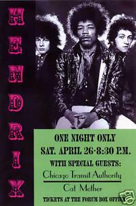 Classic Rock: Jimi Hendrix at Los Angeles Forum Concert Poster 1969  13x19