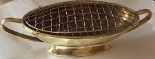 Vintage Brass Oval Flower Pot Holder With Wire Mesh