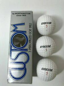 Vintage Worthington Custom Guidestar 3 Golf Balls, 1 Sleeve of Three, NOS