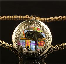 Black Cat In Bookshelf Cabochon Glass Gold Plating Locket Pendant Necklace