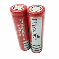 2X 18650 Battery Flat Top 3.7V 6800mAh Li-ion Rechargeable for Torch Head Light