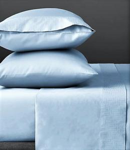 New Ted Baker London 4PC T-Border Queen Sheet Set Light Blue 2 Pillowcases