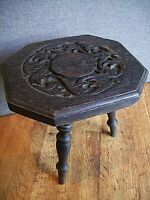 Antique 19th Century Stained Dark Oak Hand-Carved Octagonal Three Legged Stool