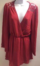 Dress medium m red lace long sleeves casual womens career
