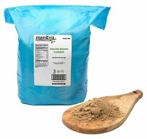 Ground Brown Flaxseed 10 lbs Manitou Non GMO High Fiber Gluten Free Kosher Vegan